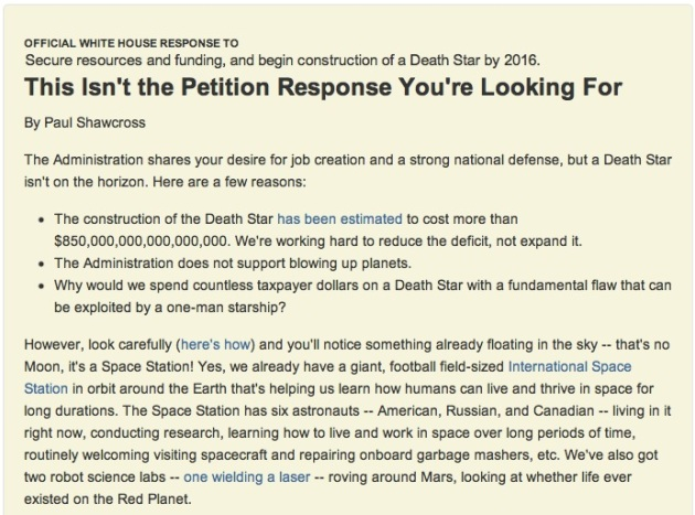 This Isn't the Petition Response You're Looking For